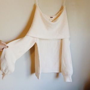 free people off the shoulder or cowl neck sweater